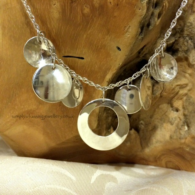 Sterling Silver Multi Disc Necklace