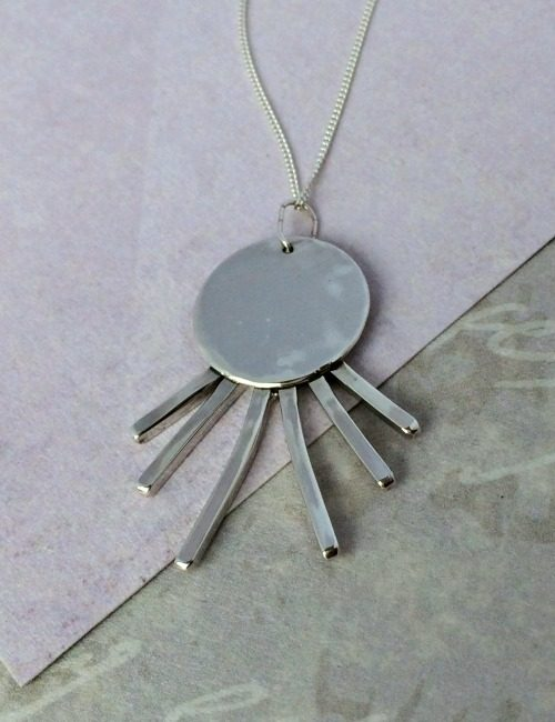 Handmade silver necklace unusual silver necklace silver sun ray disc pendant mozeypictures Image collections